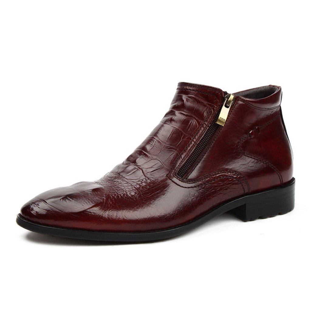 Zapatos Clásicos de Piel para Hombre Ropa Formal Zapatos de Tacón Alto Zapatos de Cuero de los Hombres Puntiagudos Botas Cortas Moda Martin Boots Estilo Británico (Color : Marrón, Tamaño : EU43/UK8) EU43/UK8|Marrón