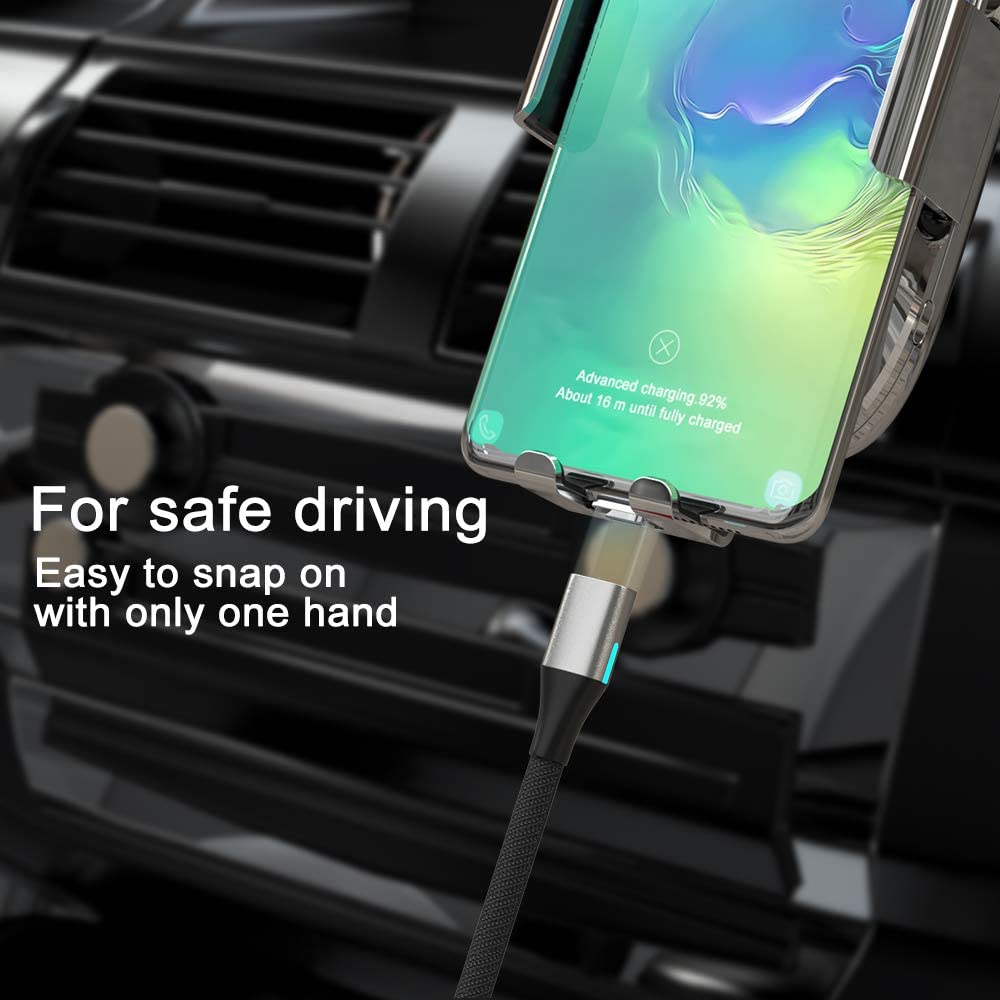 3.3Ft// 3 Pack, Silver NetDot Gen10 3 in 1 Nylon Braided Magnetic Charging Cable Fast Charging and Data Transfer for Micro USB and USB C Android Smartphones and I-Product
