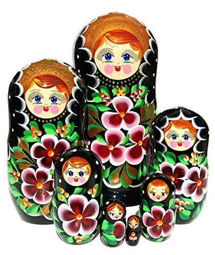 Nata Russian Nesting Dolls 7 Piece Set Black Floral Stacking Babushka Burgundy Flowers Wooden Matryoshka Toy by GreatRussianGifts (Image #1)