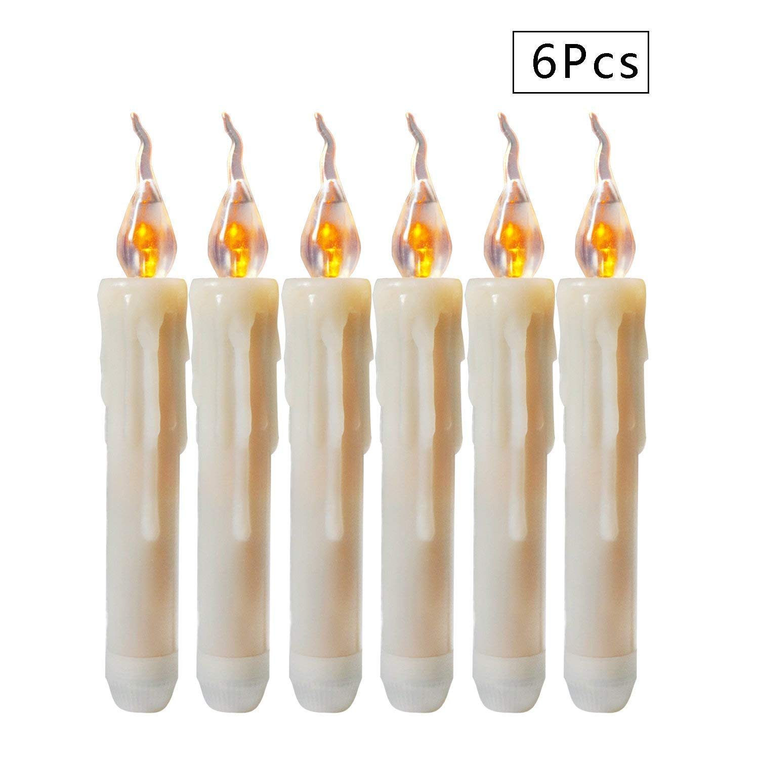 Micandle 6PCS Wax Dripped Amber Flickering Flameless Fake LED Taper Candle,Powered by 2AA Batteries(NOT Included) Lighting 120+Hrs, Perfect Stick Candle for Halloween,X-mas,Home Decor.Size:1''D6.7''H