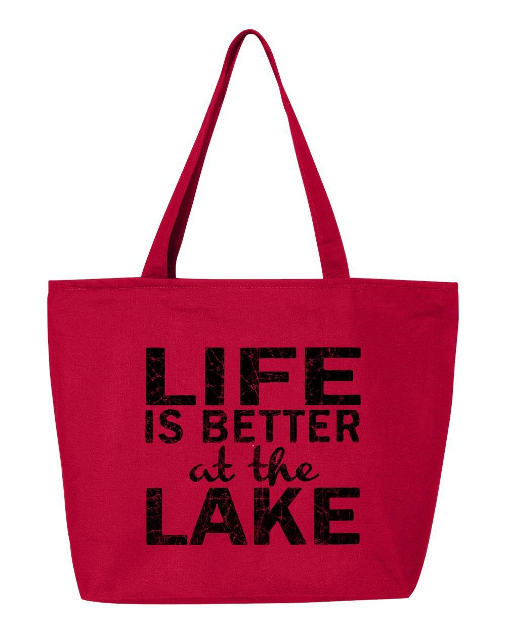 shop4ever Life Is Better At The LakeブラックHeavy Canvas Tote with Zipper Sayings再利用可能なショッピングバッグ12 oz Zip 25 oz レッド S4E_1215_LifeLakeBlk_TB_Q611_Red_1 B0713SXRC1 レッド|1 レッド
