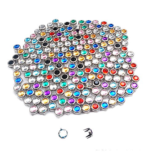200pcs 6mm Rhinestone Studs Round Rivets Punk DIY for Clothing Shoes Bags Belt Spikes GZ080-6(Mix-s)