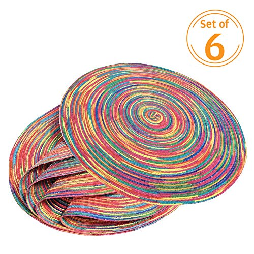 Cheap  Woven Braided Colorful Round Placemats Heat Resistant Dining Table Mats Non-slip Washable..