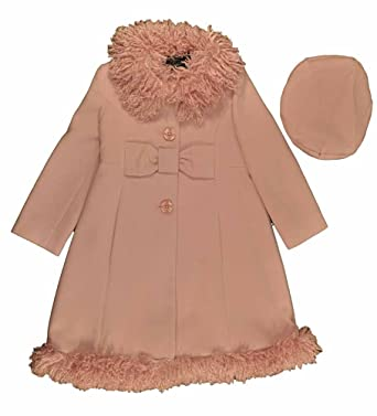 Amazon.com: Rothschild Little Girls Pink Faux Wool Coat With Faux ...