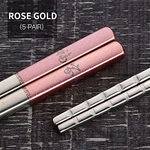 5 Pairs Stainless Steel Chinese Chopsticks Skid-Proof Reusab