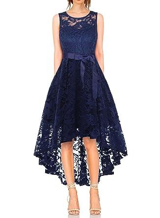 migliori scarpe da ginnastica 9781f 409da MONYRAY Vestito Donna Elegante Cerimonia in Pizzo Floreale Abito da Sera  Corto Davanti Lungo Dietro