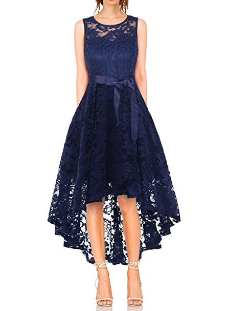 8c8e90d508 Vestido Cóctel Vintage A-línea Hi-Lo Elegante Mujer Flor Encaje Vestidos De  Fiesta  Amazon.es  Ropa y accesorios