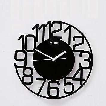 Hyzb Reloj de Pared Redondo, Reloj Digital de Silencio árabe de 12 Pulgadas, Reloj de Cuarzo Decorativo silencioso sin tictac con números Grandes, ...