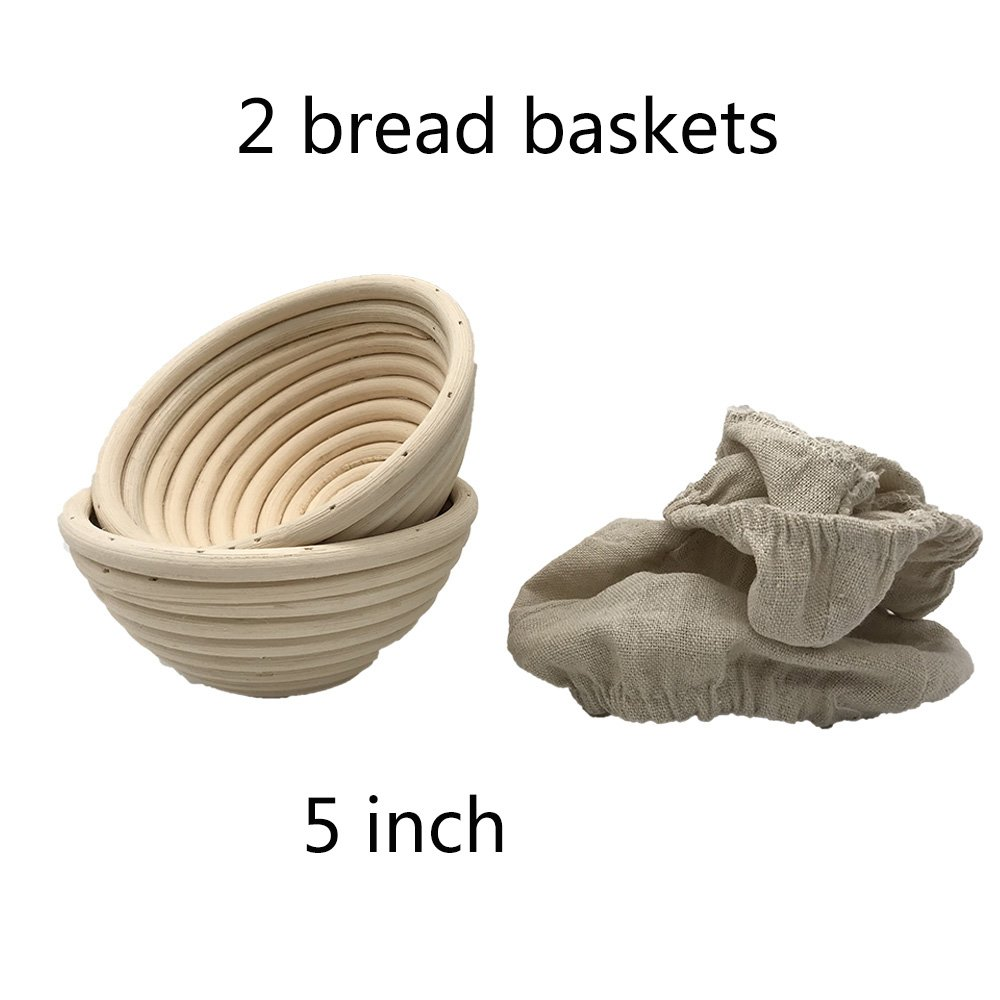 2 pack of mini 5 Inch Round Brotform Banneton Proofing Basket Bread Bowl for Baking Dough (Bonus Linen Cover) (5 inch)