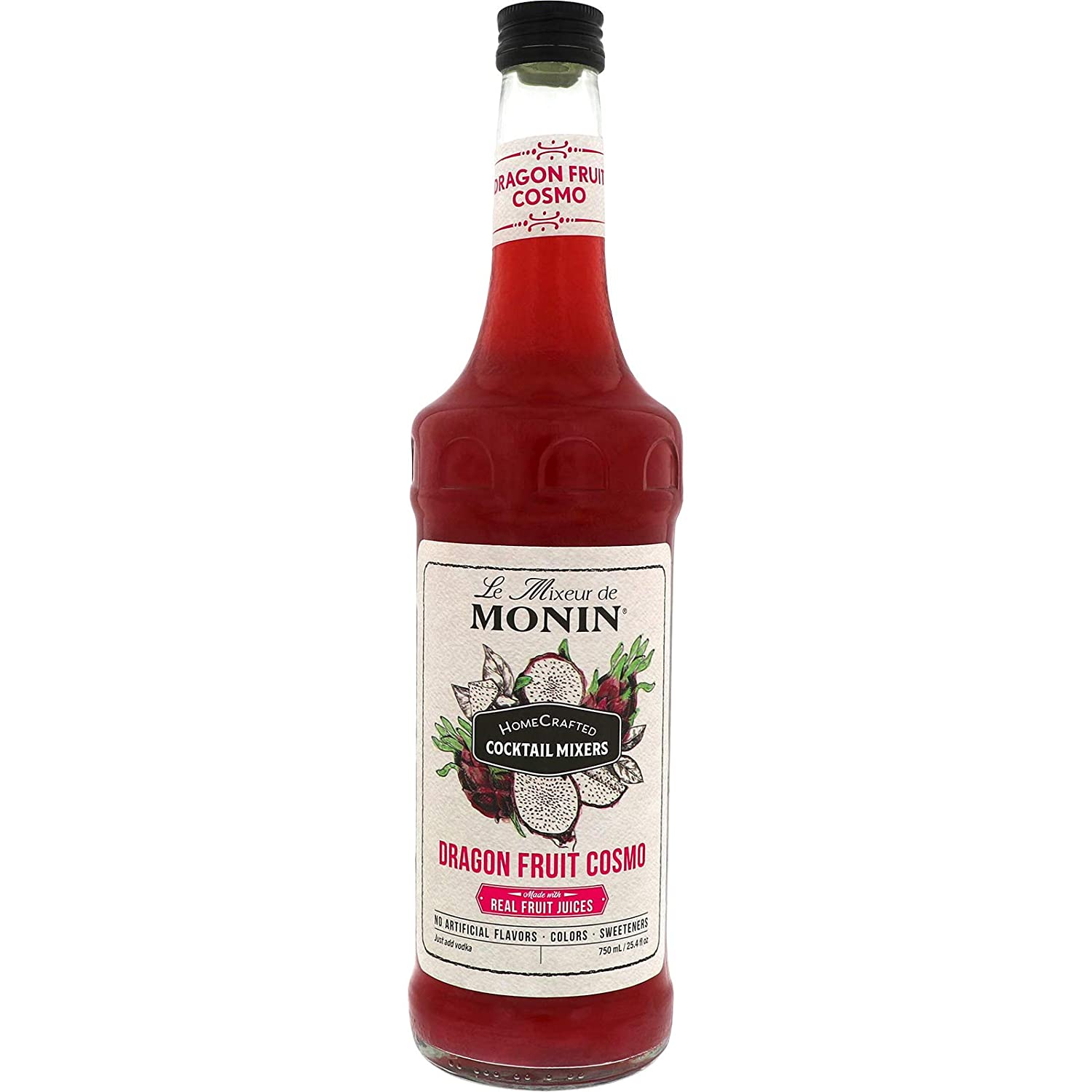 Monin - HomeCrafted Dragon Fruit Cosmo Cocktail Mix, Ready-to-Use Drink Mixer, Strawberry & Pear Blend, Made with Natural Flavors & Real Fruit Juice, DIY Cocktails, Just Add Vodka (750 ml)