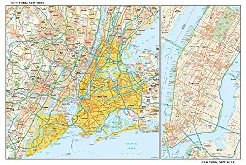 New York, New York Wall Map - 21.75