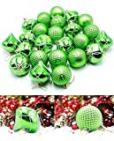 """Woowell 24ct Green Shatterproof Christmas Tree Ornaments Large Size 2.36""""/60mm Diversiformed Christmas Balls Decoration"""