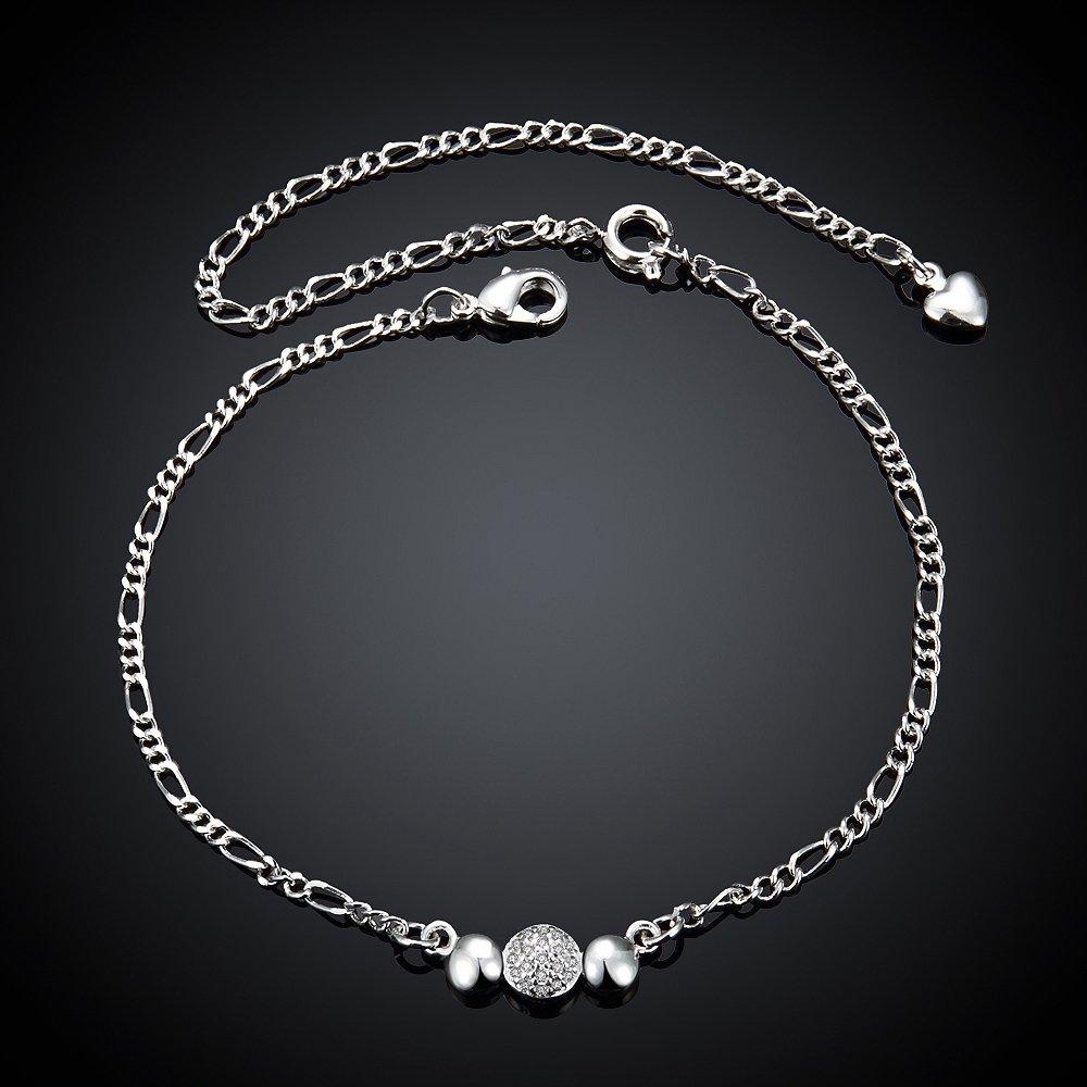 fashionbeautybuy Women Diamond Beads Ankle Bracelet Silver Plated Jewelry Barefoot Sandal Beach Foot Chain