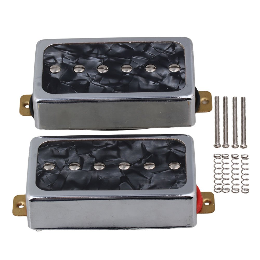 Yibuy Black Pearl P90 Single Coil Bridge & Neck Pickups Set for Electric Guitar Parts etfshop YB1554