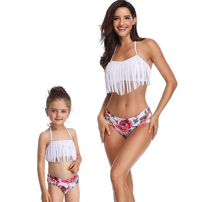 26efae8250 K-Youth Boho Madre e Hija Bikini Push up Mujer Brasileño Volantes Traje de  baño