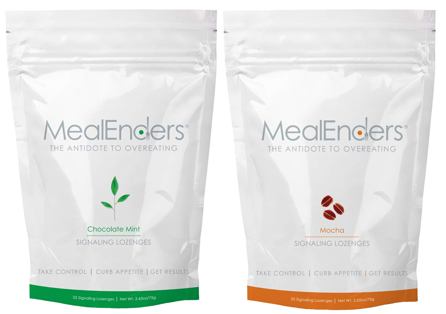 MealEnders Signaling Lozenges - Control Appetite and Cravings, Stop Overeating, and Boost Your Diet Weight Loss Program, 25-Count Bag (2-Pack) (1x Choc.Mint 1x Mocha)