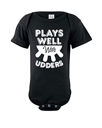 8a01b6fe3 Amazon.com: Plays Well with UDDERS | Funny Baby One Piece Infant Novelty  Bodysuit: Clothing
