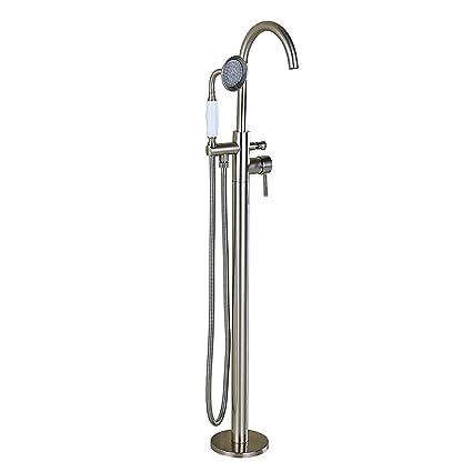 Rozin Brushed Nickel Floor Standing Bathtub Faucet Mixer Tap With
