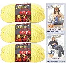 Bernat Softee Chunky Yarn Bundle Super Bulky Number 6, 3 Skeins Baby Yellow 28614