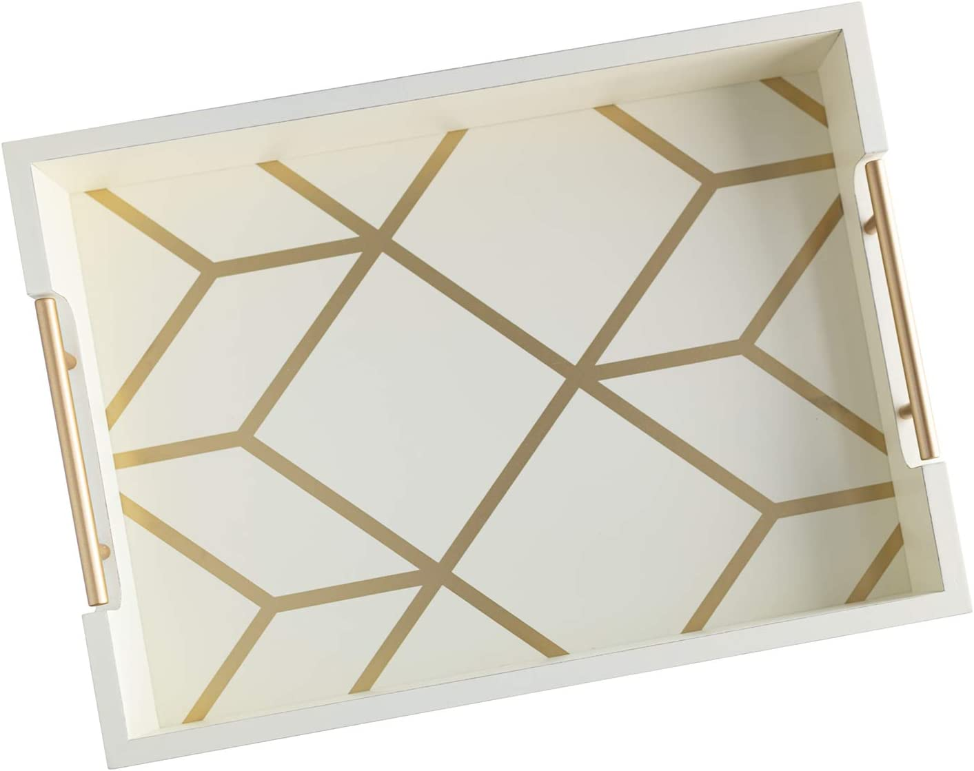 Creamy White & Gold Coffee Table Serving Tray with Handles - 16.5 x 12 - Wooden Decorative Ottoman Tray for Serving Food