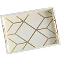 White & Gold Coffee Table Serving Tray with Handles - 16.5 x 12 - Wooden Decorative Ottoman Tray for Serving Food