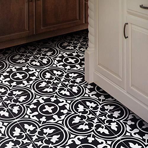 Moroccan Mosaic & Tile House CTP33-02 Casa Handmade Cement Tile, 8''X8'', Black/White