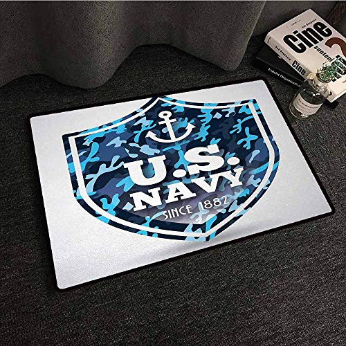 DILITECK Printed Door mat Anchor Military Camouflage with US Navy Since 1882 Uniform Army Force Ship Hard and wear Resistant W24 xL35 Blue White Navy Blue