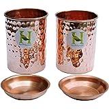 Hammered Copper Tumbler Set of 2 with LID | Traveller's Copper Mug | Ayurveda Health Benefit by HealthGoodsIn