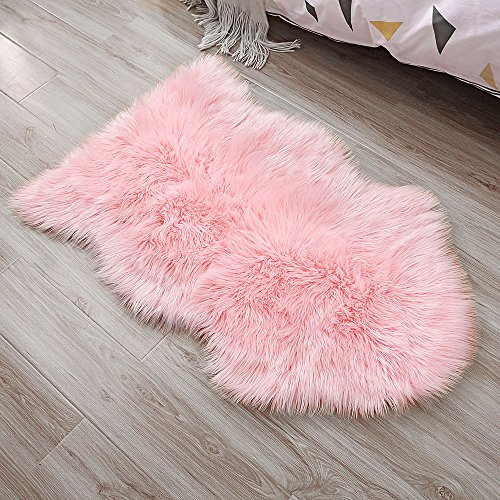 OJIA Deluxe Soft Faux Sheepskin Chair Cover Seat Pad Plain Shaggy Area Rugs For Bedroom Sofa Floor (2ft x 3ft, Pink)