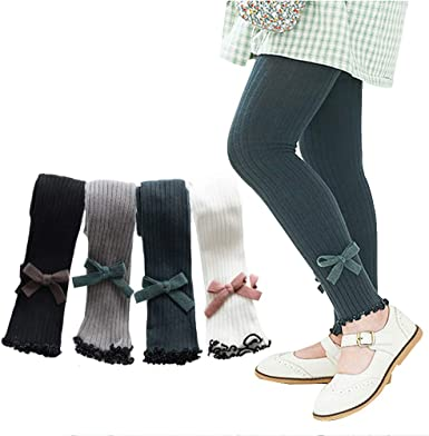 5 Pack Baby Girls Footless Tights Cable Knit Cotton Ankle Length Leggings Pantyhose Pants Stockings for Kids