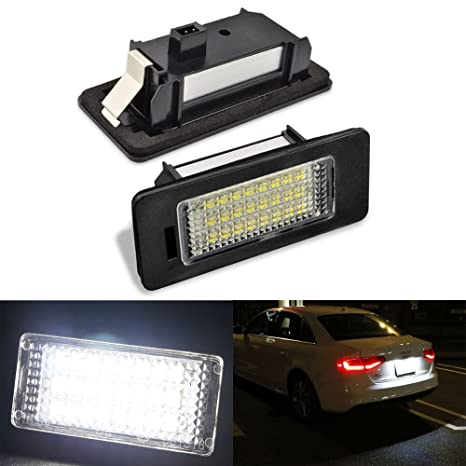 2pcs Car License Plate Light for Audi A1 A4 A5 A6 A7 Q5 S5 RS5 TTRS TT  ALLROAD Error Free 3W 24 Led White Rear License Tag Lights Rear Number  Plate
