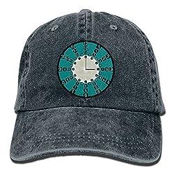 Crazzy Clock Classic Cotton Adjustable Jeans Baseball Cap Mens Sun Hats