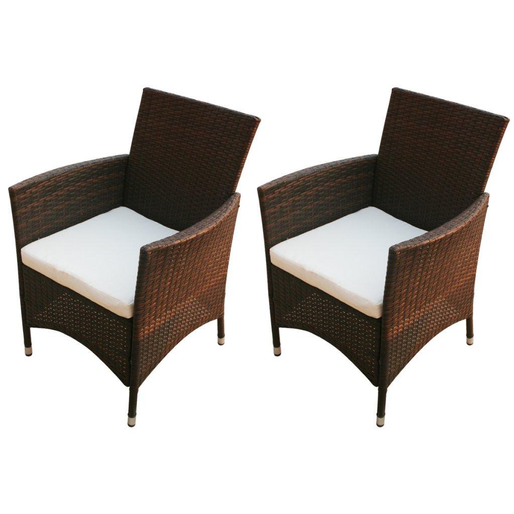 vidaxl 2x poly rattan gartenstuhl essgruppe gartengarnitur sitzgruppe gartenm bel braun g nstig. Black Bedroom Furniture Sets. Home Design Ideas