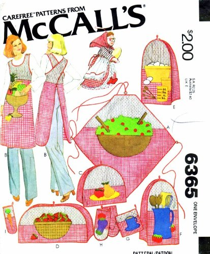 - McCall's 6365 Sewing Pattern Kitchen Witch Apron Appliance Covers Potholder