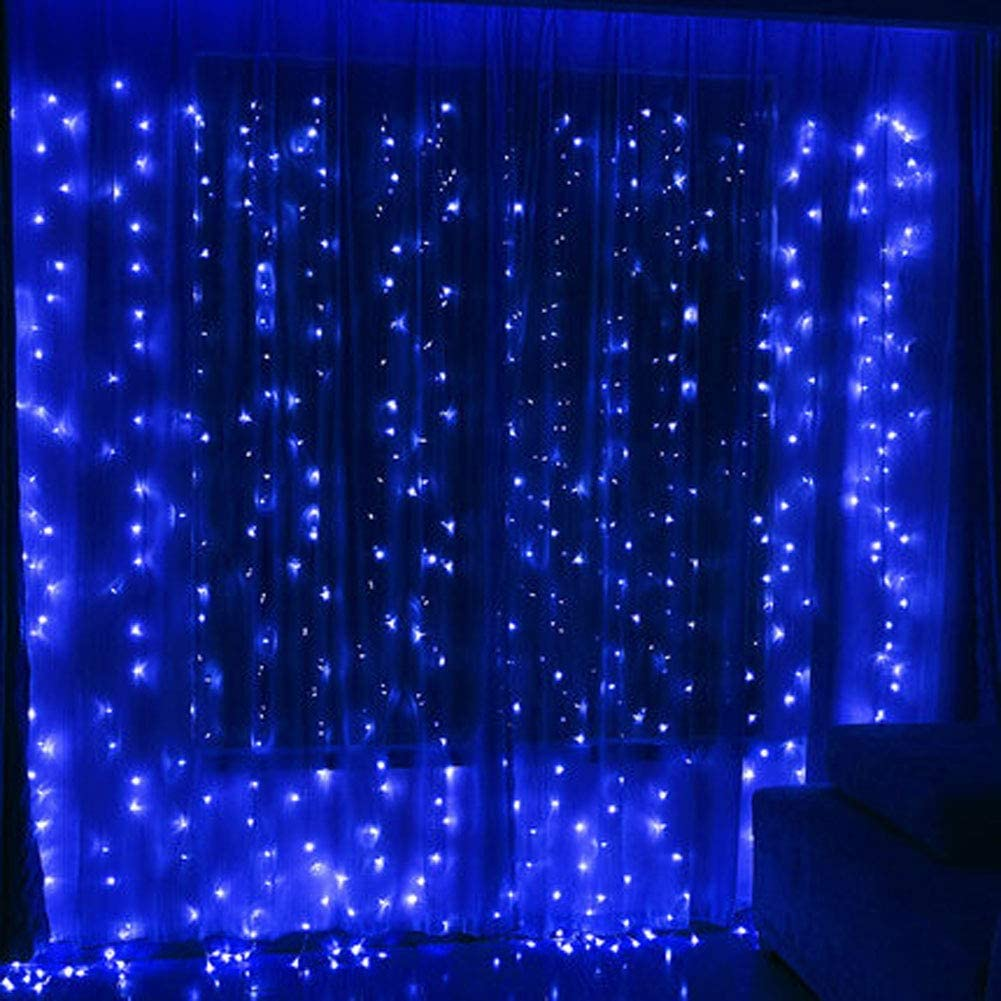 Twinkle Star 300 Led Window Curtain String Light For Christmas Wedding Party Home Garden Bedroom Outdoor Indoor Wall Decoration Blue Garden Outdoor