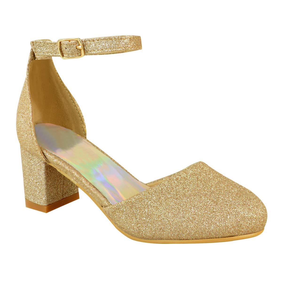 8678379d125 CHILDRENS GIRLS KIDS MID LOW HIGH HEEL DIAMANTE PARTY SHOES BRIDAL SANDALS  SIZE  Amazon.co.uk  Shoes   Bags
