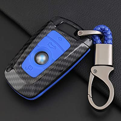 ontto Key Fob Cover Carbon Fiber Texture Car Key Shell Silicone case with Keychain Remote Key Protector Fit for BMW 1 3 5 7 Series X3 X4 X5 X6 (Blue) …: Automotive