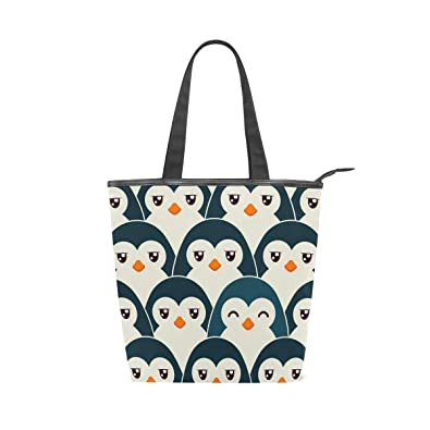 db8d962a5802 Amazon.com  IMOBABY Penguin Canvas Large Shopping Tote Bag Zippered Travel Tote  Shoulder Bag Handbag for Women Girls  Shoes