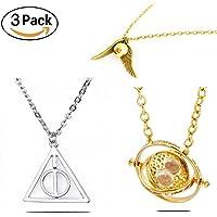 3PACK Collar Harry Potter Reliquias de la Muerte, Giratiempo Hermione y Snitch Dorada - 3 Piezas en uno - Collares para Mujer y Hombre, Pareja, Regalo