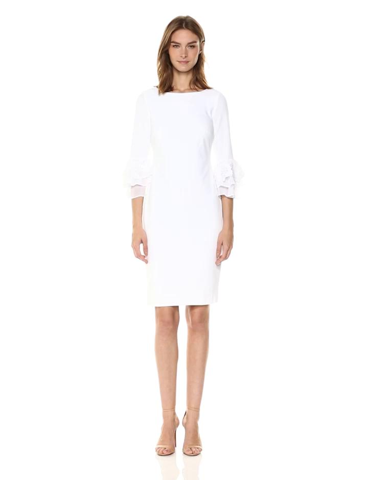 Calvin Klein Women's Solid Sheath with Three Quarter Chiffon Bell Sleeve Dress