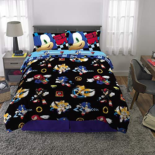 Franco Kids Bedding Super Soft Comforter and Sheet Set, 5 Piece Full Size, Sonic The Hedgehog