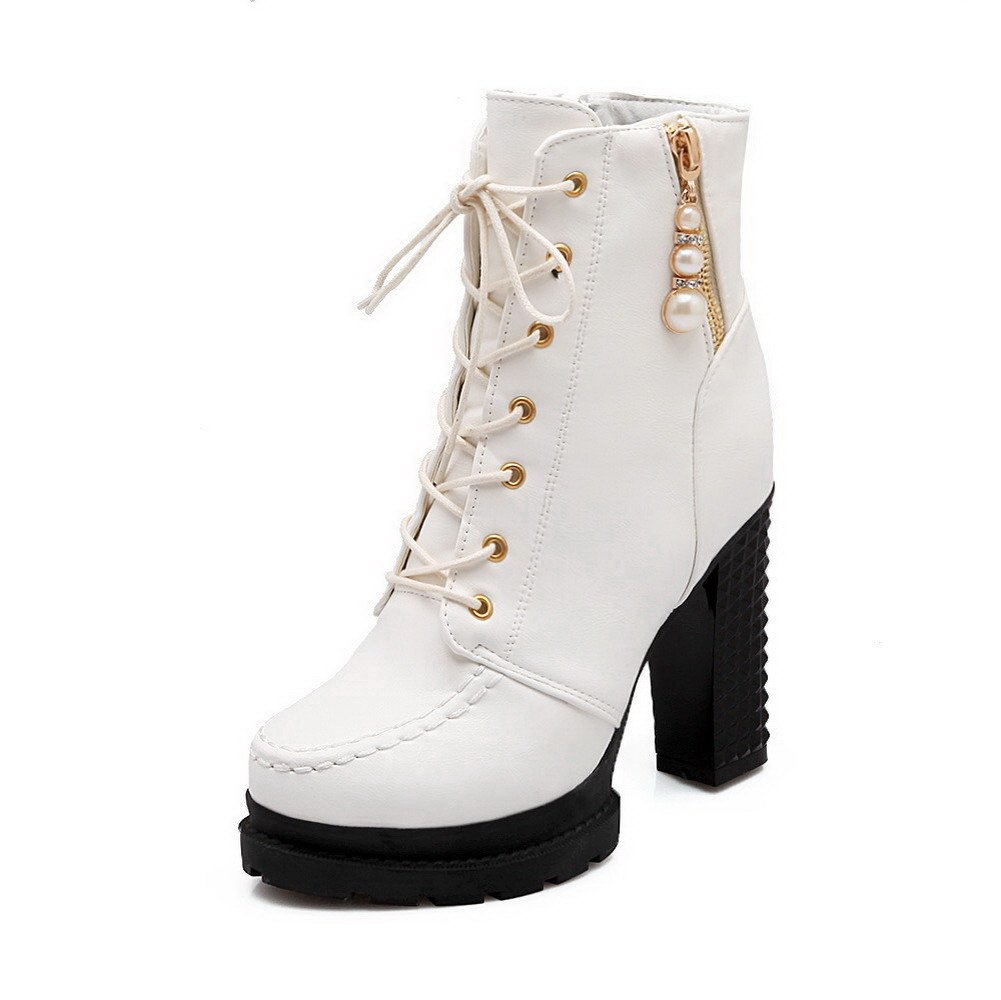 AmoonyFashion Women's High-Heels Low-Top Closed Toe Soft Material Boots with Jewels, White-Charms, 35 by AmoonyFashion