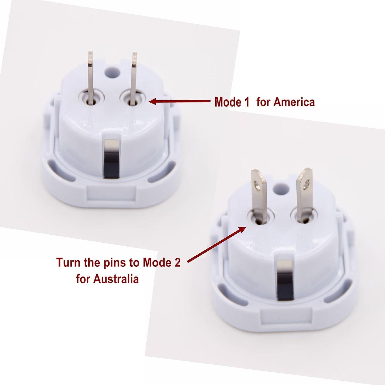 Australien 5 St/ück Neuseeland wei/ß INIBUD Reiseadapter UK auf USA