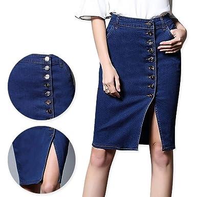 GYYWAN Falda Tallas Grandes Faldas De Mezclilla para Mujer Faldas ...
