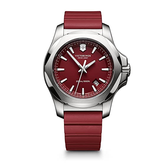 Amazon.com: Victorinox Swiss Army I.N.O.X. Rubber Watch, 43mm, Red: Victorinox Swiss Army: Watches