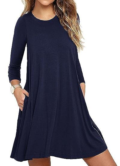 Minetom Moda mujer bolsillo manga larga casual loose camiseta vestido de fiesta de noche Azul Marino