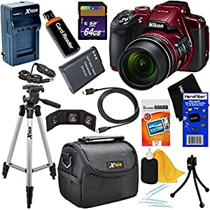 Nikon COOLPIX B700 Wi-Fi, NFC Digital Camera with 60x Zoom & UHD 4K Video (Red) - International Version (No Warranty) + Battery & AC/DC Charger + 10pc 64GB Deluxe Accessory Kit w/ HeroFiber Cloth
