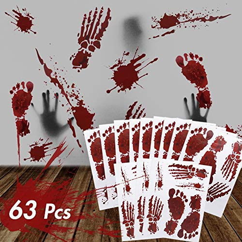 Zombie Halloween Food Ideas (ATDAWN 63 PCS Bloody Footprints Floor Clings, Halloween Vampire Zombie Party Window Decals Wall Stickers Decor, Halloween Decorations Blood Splatter Stickers)