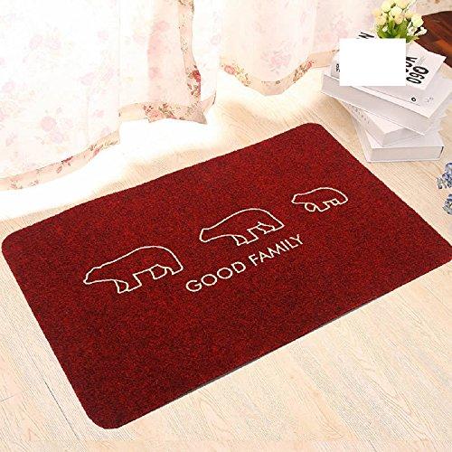 (EZON-CH Modern Non Slip Polar Bear Good Family Embroidery Bathroom Bath Shower Bedroom Mat Toilet Chenille Floor Rug Carpet Pad(24x36IN)(Red))