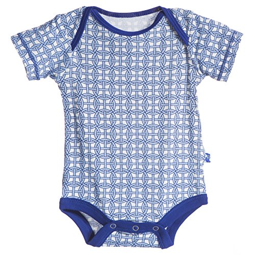 KicKee Pants Baby-boys Infant Print Short Sleeve One-piece, Natural Wicker, 18-24 Months